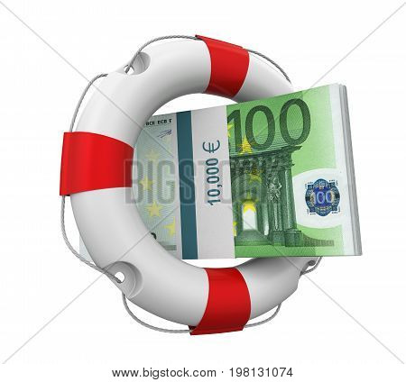 Euro and Lifebuoy isolated on white background. 3D render