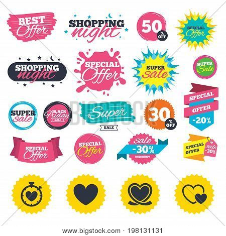 Sale shopping banners. Heart ribbon icon. Timer stopwatch symbol. Love and Heartbeat palpitation signs. Web badges, splash and stickers. Best offer. Vector