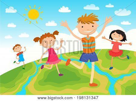 Globe kids on globe. International friendship day. Earth day. Vector illustration of diverse Children Holding Hands.