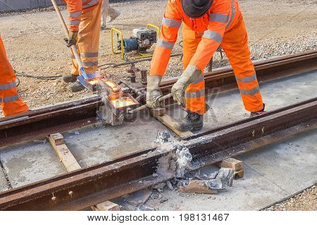 Tram Track Construction Site, Tracks Being Joined