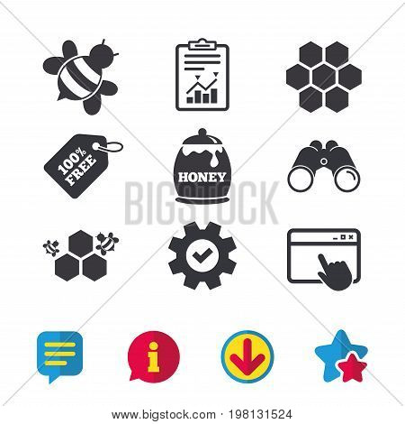 Honey icon. Honeycomb cells with bees symbol. Sweet natural food signs. Browser window, Report and Service signs. Binoculars, Information and Download icons. Stars and Chat. Vector