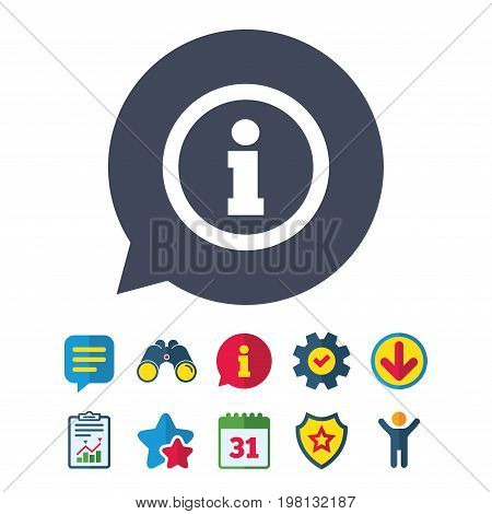 Information sign icon. Info symbol. Information, Report and Speech bubble signs. Binoculars, Service and Download, Stars icons. Vector