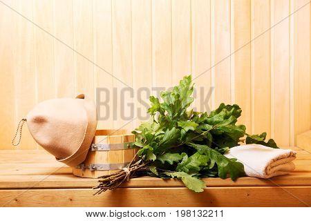 various sauna accessories in a wooden sauna