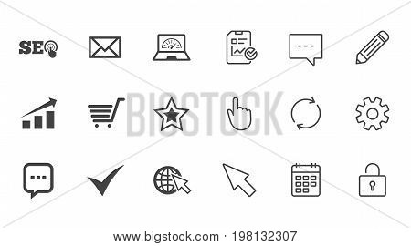Internet, seo icons. Tick, online shopping and chart signs. Bandwidth, mobile device and chat symbols. Chat, Report and Calendar line signs. Service, Pencil and Locker icons. Vector