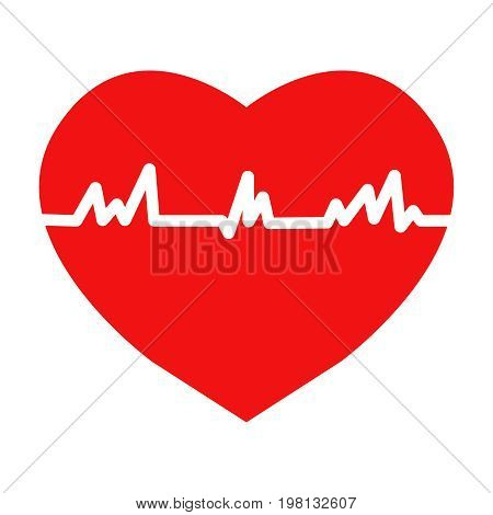 Flat trendy heart beat icon with ecg flat. Illustration EPS10
