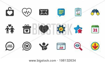 Love, valentine day icons. Target with heart, oath letter and locker symbols. Couple lovers, heartbeat signs. Calendar, Report and Download signs. Stars, Service and Search icons. Vector