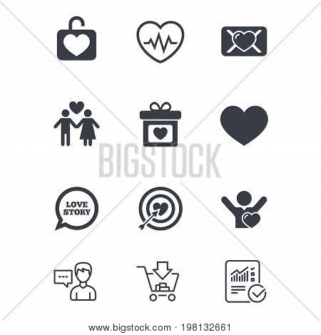Love, valentine day icons. Target with heart, oath letter and locker symbols. Couple lovers, heartbeat signs. Customer service, Shopping cart and Report line signs. Online shopping and Statistics