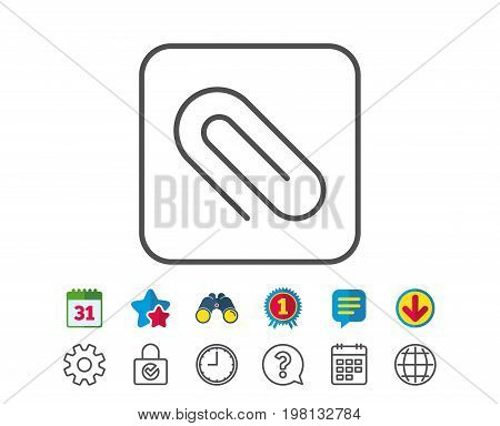 Attach line icon. Attachment paper clip sign. Office stationery object symbol. Calendar, Globe and Chat line signs. Binoculars, Award and Download icons. Editable stroke. Vector