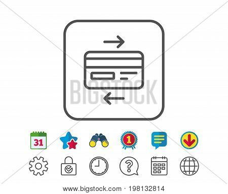 Credit card line icon. Bank payment method sign. Online Shopping symbol. Calendar, Globe and Chat line signs. Binoculars, Award and Download icons. Editable stroke. Vector
