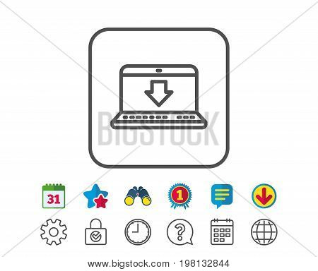 Download line icon. Internet Downloading with Laptop sign. Load file symbol. Calendar, Globe and Chat line signs. Binoculars, Award and Download icons. Editable stroke. Vector