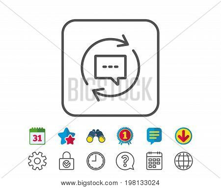 Update Comments line icon. Chat Speech bubble sign. Communication symbol. Calendar, Globe and Chat line signs. Binoculars, Award and Download icons. Editable stroke. Vector