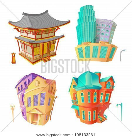 Bright color vector set illustrations old architecture Victorian epoch and Baroque, Chinese pagoda and modern high-rise residential or office buildings. Collection isolated houses in cartoon style