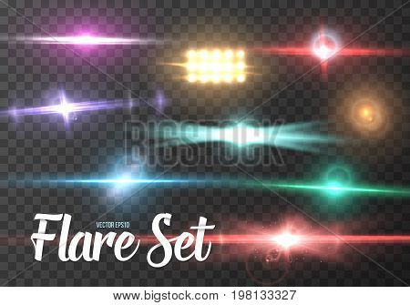 Illustration of Vector Lens Flare Set. Realistic Sun Flare Light Effect. Sun Shine Transparent Glow Template