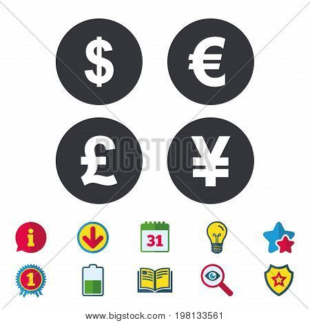 Dollar, Euro, Pound and Yen currency icons. USD, EUR, GBP and JPY money sign symbols. Calendar, Information and Download signs. Stars, Award and Book icons. Light bulb, Shield and Search. Vector