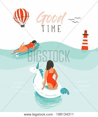 Hand drawn vector abstract summer time fun illustration with swimming happy people in water with lighthouse, hot air balloon, unicorn buoy and modern typography quote Good time isolated on white