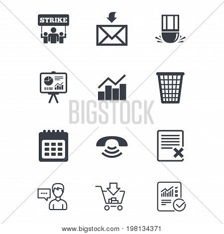 Office, documents and business icons. Call, strike and calendar signs. Mail, presentation and charts symbols. Customer service, Shopping cart and Report line signs. Online shopping and Statistics