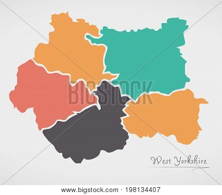 West Yorkshire England Map With States And Modern Round Shapes