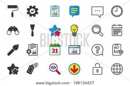 Paint roller, brush icons. Spray can and Spatula signs. Wall repair tool and painting symbol. Chat, Report and Calendar signs. Stars, Statistics and Download icons. Question, Clock and Globe. Vector