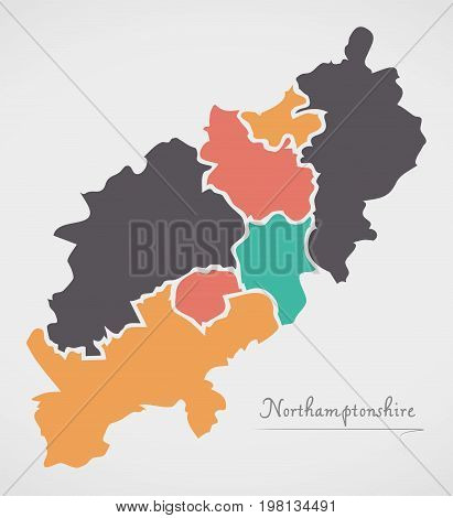 Northamptonshire England Map With States And Modern Round Shapes