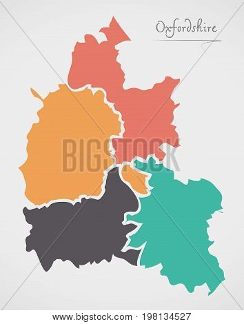 Oxfordshire England Map With States And Modern Round Shapes