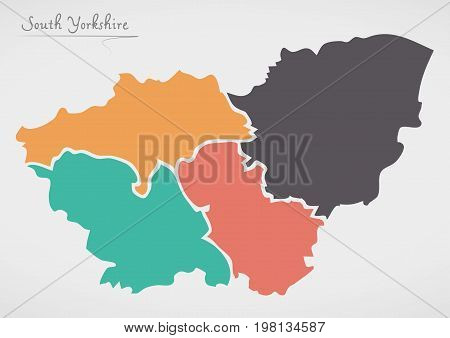 South Yorkshire England Map With States And Modern Round Shapes