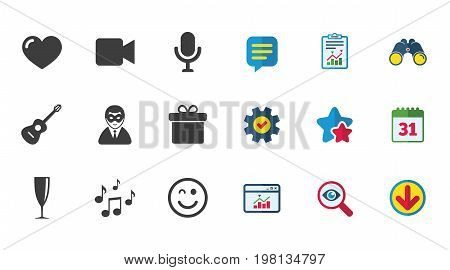 Party celebration, birthday icons. Carnival, guitar and champagne glass signs. Gift box, music and video camera symbols. Calendar, Report and Download signs. Stars, Service and Search icons. Vector