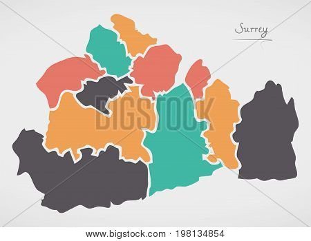 Surrey England Map With States And Modern Round Shapes