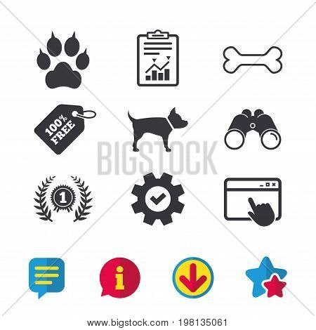 Pets icons. Cat paw with clutches sign. Winner laurel wreath and medal symbol. Pets food. Browser window, Report and Service signs. Binoculars, Information and Download icons. Stars and Chat. Vector