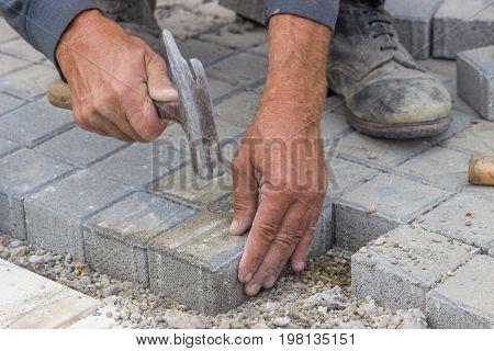 Laying Concrete Brick Pavers 2