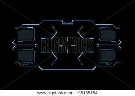 Sci fi futuristic interface. HUD user interface. Concept design gaming user interface high tech screen. Vector Illustration.