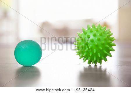 Massage balls on floor indoors
