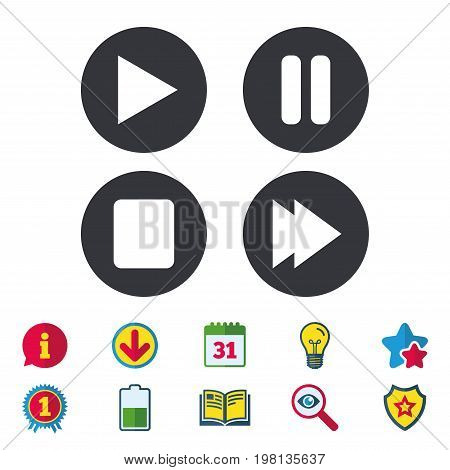 Player navigation icons. Play, stop and pause signs. Next song symbol. Calendar, Information and Download signs. Stars, Award and Book icons. Light bulb, Shield and Search. Vector