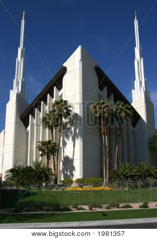 The Las Vegas LDS Temple glistens in the southwest sun poster