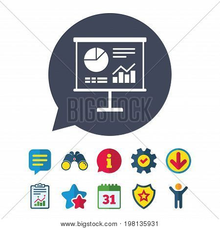 Presentation billboard sign icon. Scheme and Diagram symbol. Information, Report and Speech bubble signs. Binoculars, Service and Download, Stars icons. Vector