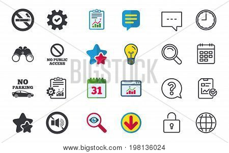 Stop smoking and no sound signs. Private territory parking or public access. Cigarette symbol. Speaker volume. Chat, Report and Calendar signs. Stars, Statistics and Download icons. Vector