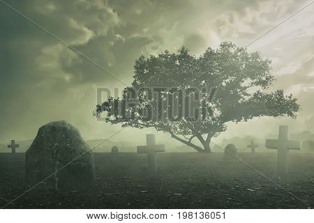 Halloween Concept, Spooky graveyard scene complete with scary trees, deep fog and Creepy clouds