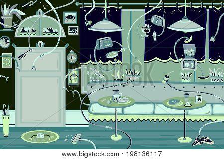 Restaurant, dining room, street cafe and fast food restaurant Illustration in flat design.