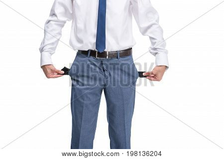 Cropped View Of Poor Businessman With Empty Pockets, Isolated On White
