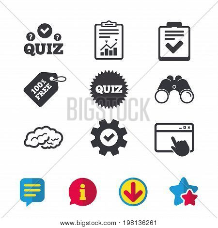Quiz icons. Human brain think. Checklist symbol. Survey poll or questionnaire feedback form. Questions and answers game sign. Browser window, Report and Service signs. Vector