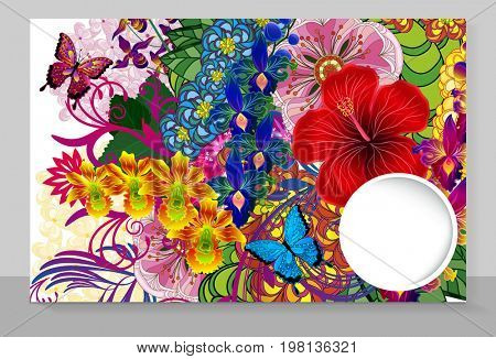 Template cover of a copybook with an trendy design: flowers pattern.