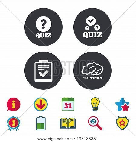 Quiz icons. Human brain think. Checklist with check mark symbol. Survey poll or questionnaire feedback form sign. Calendar, Information and Download signs. Stars, Award and Book icons. Vector
