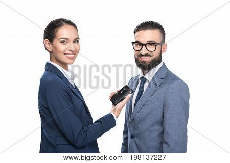 Smiling Female Journalist Interviewing A Businessman, Isolated On White