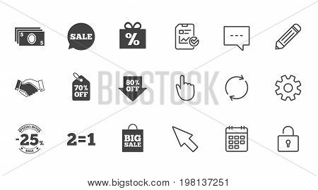 Sale discounts icon. Shopping, handshake and cash money signs. 25, 70 and 80 percent off. Special offer symbols. Chat, Report and Calendar line signs. Service, Pencil and Locker icons. Vector