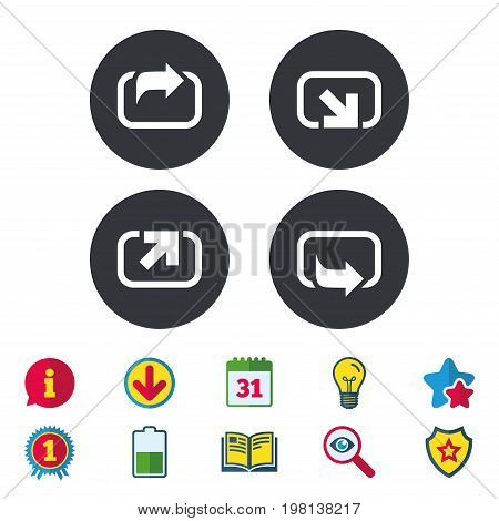 Action icons. Share symbols. Send forward arrow signs. Calendar, Information and Download signs. Stars, Award and Book icons. Light bulb, Shield and Search. Vector