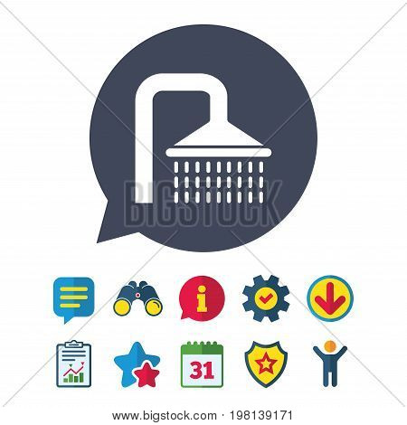 Shower sign icon. Douche with water drops symbol. Information, Report and Speech bubble signs. Binoculars, Service and Download, Stars icons. Vector
