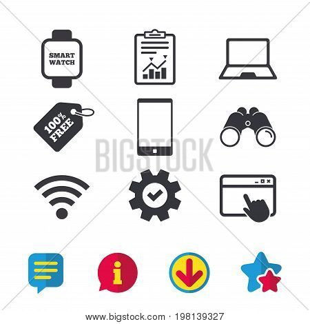 Notebook and smartphone icons. Smart watch symbol. Wi-fi sign. Wireless Network symbol. Mobile devices. Browser window, Report and Service signs. Binoculars, Information and Download icons. Vector
