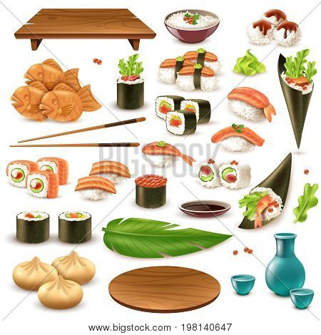 Set of japanese food including sushi, sake, rice in bowl, dumplings, wasabi, soy sauce isolated vector illustration