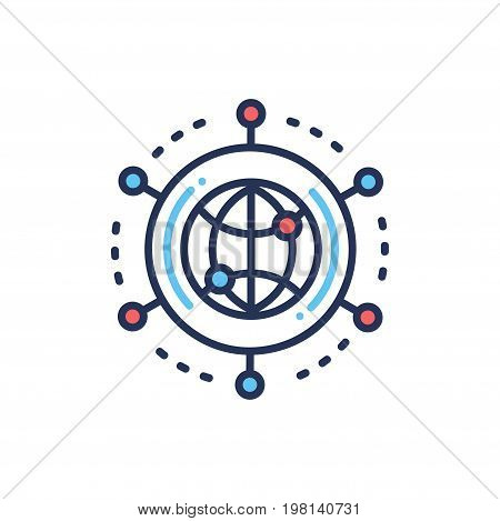 Global Networking - modern vector single line design icon. Globe, planet, colleague, partnership, work, job, employee, circle, organisation, social, group, reach, system, company, firm, connection.