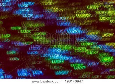 Beautiful Background With Different Colored Word Lucky , Abstract Background, Lucky Shapes On Black