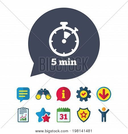 Timer sign icon. 5 minutes stopwatch symbol. Information, Report and Speech bubble signs. Binoculars, Service and Download, Stars icons. Vector